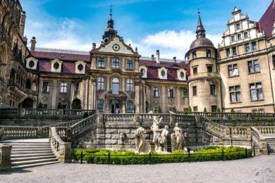Taras na zamku w Mosznej